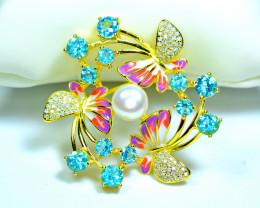 Natural 12Pis Paraiba Blue Apatite , Pearl , Cz 925 Silver Gold plated Broo
