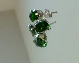 CHROME DIOPSIDE EARRINGS SPARKLING GREEN - STERLING SILVER