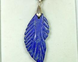 34 carat Blue Lapis Lazuili 925 silver pendant, 43x20x4mm