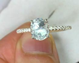 Natural 13.00 Carats Sea Blue Aquamarine 925 Silver Ring