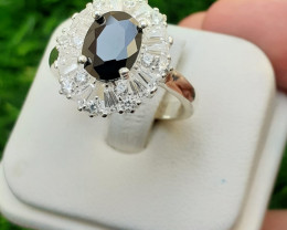 Artificial synthetic Stone 925 silver Ring with CZ