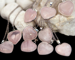 Wholesale 10 pcs Lovers Heart Rose Quartz Pendants AHA 825