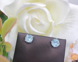 Stylish Natural Blue Aquamarine And Topaz  Silver Earring
