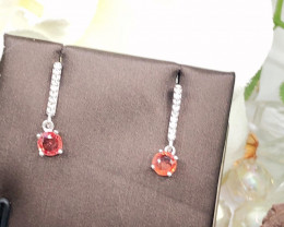 Stylish Natural Red Sapphire And Topaz  Silver Earring
