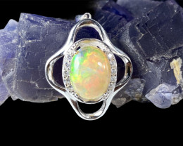 4.74ct.Aesthetic Opal Dramatic Fire.Silver925Pendant.DOP230