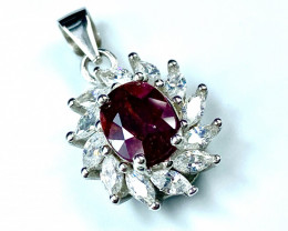 1.69ct. Magnificent Natural Ruby Untreated Mozambique.Silver925Pendant.D238