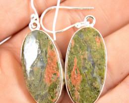 55.5 Tcw. Unakite 9.25 Sterling Silver Earrings - Gorgeous