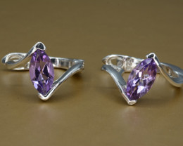 Natural Amethyst Silver Earrings 20.47 Cts