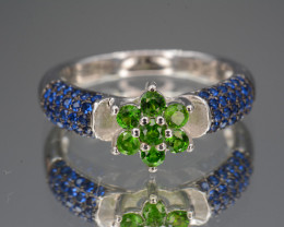 Natural Chrome Diopside , CZ Silver Ring Unique Design 18.76 Cts