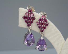 Natural Amethyst and Rhodolite Silver Earrings 17.13 Cts