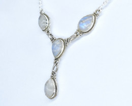 RAINBOW MOONSTONE NECKLACE NATURAL GEM 925 STERLING SILVER AN80