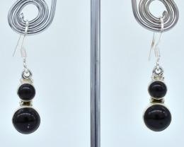 BLACK ONYX EARRINGS 925 STERLING SILVER NATURAL GEMSTONE AE1127