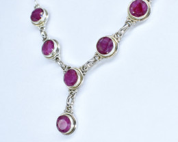 RUBY NECKLACE NATURAL GEM 925 STERLING SILVER AN82