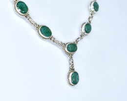 EMERALD NECKLACE NATURAL GEM 925 STERLING SILVER AN83