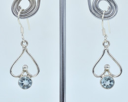 BLUE TOPAZ  EARRINGS 925 STERLING SILVER NATURAL GEMSTONE AE1129