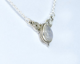 RAINBOW MOONSTONE   NECKLACE NATURAL GEM 925 STERLING SILVER AN84