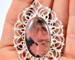 77.0 Tcw. Rhodonite Sterling Silver Pendant - Beautiful