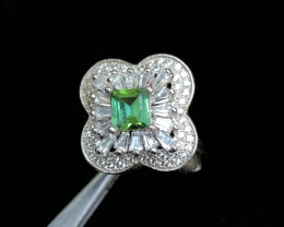 26.5 cts Green color Tourmaline transparent 925 Solid Silver Ring
