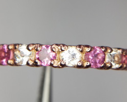 Pink Tourmaline Ring with white Topaz in Silver
