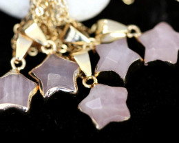 Wholesale 5 pcs Gold Plated Star Pendants Natural Rose Quartz AHA 935