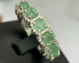 Natural Emerald eternity Ring with CZ.