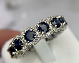 Natural Sapphire eternity Ring with CZ.