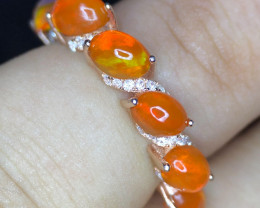 A DAZZLING-FIRE OPAL-CZ-SILVER GOLD PLATED