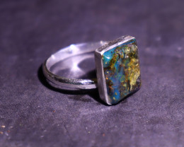 Unique Natural Translucent Deep Blue Amber .925 Sterling Silver Ring #7.5
