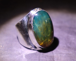 Hugh 28mm Natural Clear Green Blue Amber .925 Sterling Silver mens  Ring #1