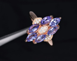 Gorgeous Natural Tanzanite, CZ & 925 Fancy Rose Gold Sterling Silver
