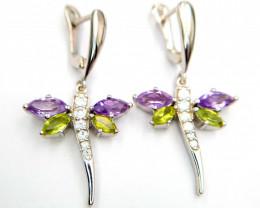 Natural Amethyst And Peridot Earrings