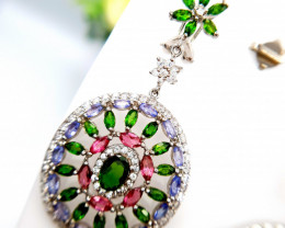 Natural Tanzanite Tourmaline and Chrome Diopside Earrings