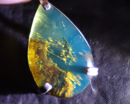 Exquisite 1.6inch Rare Inclusions Clear Sky Blue Amber .925 Sterling Silver