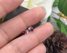 Stylish Natural Red Ruby  Silver Earring