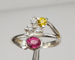 Handmade Natural Pink/yellow sapphire and CZ Ring