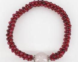 Natural Garnet and Rose Quartz Bracelet