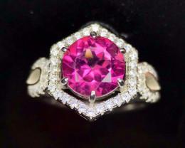 Spectacular-Pink Topaz-Ring-CZ-925