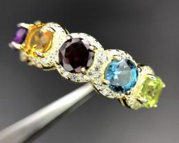 Splendid Multi Stone 925 Silver Ring