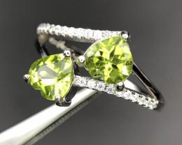 Heart Shape Peridot 925 Silver Ring
