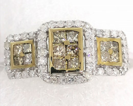 Champagne and White Diamond Ring 0.50tcw.