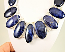 542.0 Tcw. Handmade Greenland Sodalite, Sterling Silver Necklace - Gorgeous