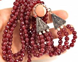 425.0 Tcw. Red Onyx Multi Strand Necklace - Gorgeous