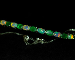 Natural  AAA Top Fire Opal , Precious Emerald  925 Silver Bracelet