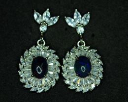 Natural AAA Top Fire Opal , CZ 925 Silver Earrings