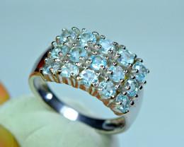 Natural Fresh Design 15Pis  Blue Topaz 925 Silver Ring