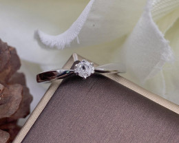 Stylish Natural Diamond Ring ~ Silver
