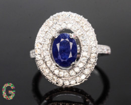 Presenting Exclusive 25.60 Ct Sapphire Ring ~ Silver With CZ