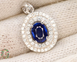 Presenting Exclusive 17.85 Ct Sapphire Pendent ~ Silver With CZ