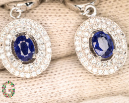 Presenting Exclusive 35.75 Ct Sapphire Earings ~ Silver With CZ