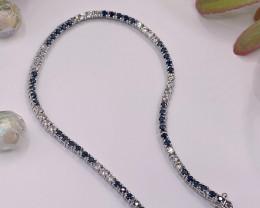 Tennis bracelet Natural Blue  Sapphire  and  Topaz Silver  Bracelet